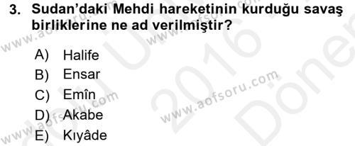 Osmanlı Tarihi (1876–1918) Dersi 2016 - 2017 Yılı (Final) Dönem Sonu Sınav Soruları 3. Soru