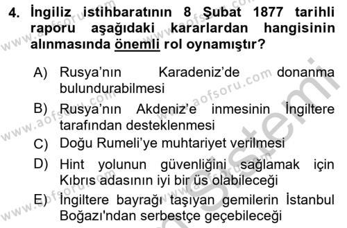 Osmanlı Tarihi (1876–1918) Dersi 2018 - 2019 Yılı Yaz Okulu Sınav Soruları 4. Soru
