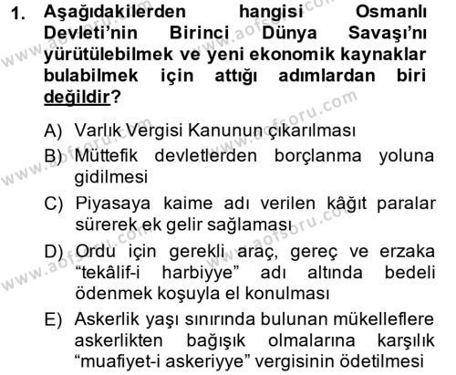 Türkiye Cumhuriyeti İktisat Tarihi Dersi 2013 - 2014 Yılı Dönem Sonu Sınavı 1. Soru