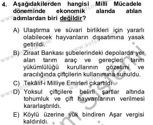Türkiye Cumhuriyeti İktisat Tarihi Dersi 2014 - 2015 Yılı Ara Sınavı 4. Soru