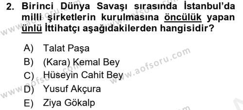 Türkiye Cumhuriyeti İktisat Tarihi Dersi 2015 - 2016 Yılı Ara Sınavı 2. Soru