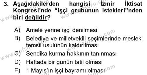 Türkiye Cumhuriyeti İktisat Tarihi Dersi 2015 - 2016 Yılı Dönem Sonu Sınavı 3. Soru