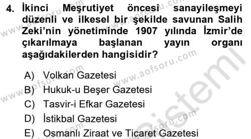 Türkiye Cumhuriyeti İktisat Tarihi Dersi 2015 - 2016 Yılı Dönem Sonu Sınavı 4. Soru