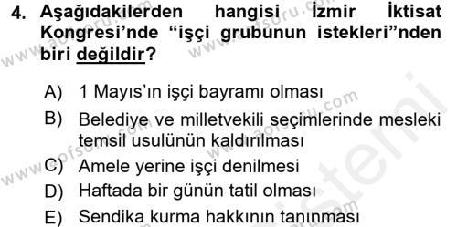 Türkiye Cumhuriyeti İktisat Tarihi Dersi 2015 - 2016 Yılı Tek Ders Sınav Soruları 4. Soru
