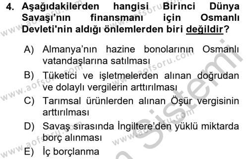 Türkiye Cumhuriyeti İktisat Tarihi Dersi 2016 - 2017 Yılı Ara Sınavı 4. Soru