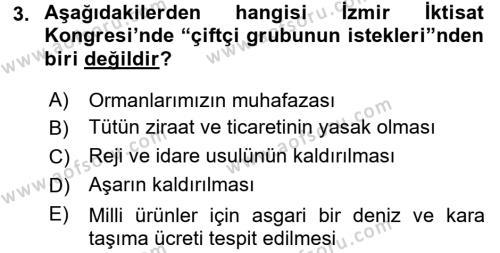 Türkiye Cumhuriyeti İktisat Tarihi Dersi 2017 - 2018 Yılı Dönem Sonu Sınavı 3. Soru