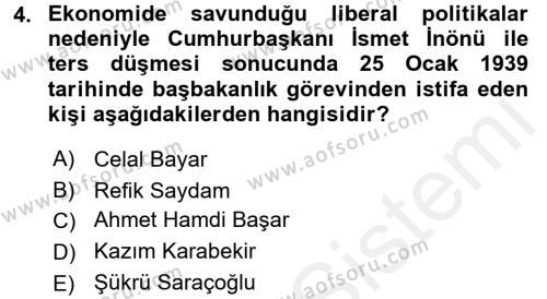 Türkiye Cumhuriyeti İktisat Tarihi Dersi 2017 - 2018 Yılı Dönem Sonu Sınavı 4. Soru