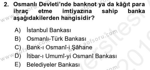 Türkiye Cumhuriyeti İktisat Tarihi Dersi 2018 - 2019 Yılı (Vize) Ara Sınav Soruları 2. Soru