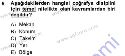 Tarih Bölümü 5. Yarıyıl Tarihi Coğrafya Dersi 2014 Yılı Güz Dönemi Ara Sınavı 5. Soru