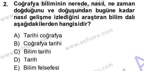 Tarih Bölümü 5. Yarıyıl Tarihi Coğrafya Dersi 2015 Yılı Güz Dönemi Ara Sınavı 2. Soru