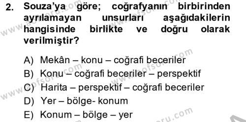 Tarih Bölümü 5. Yarıyıl Tarihi Coğrafya Dersi 2015 Yılı Güz Dönemi Dönem Sonu Sınavı 2. Soru