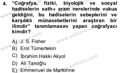 Tarih Bölümü 5. Yarıyıl Tarihi Coğrafya Dersi 2015 Yılı Güz Dönemi Dönem Sonu Sınavı 4. Soru