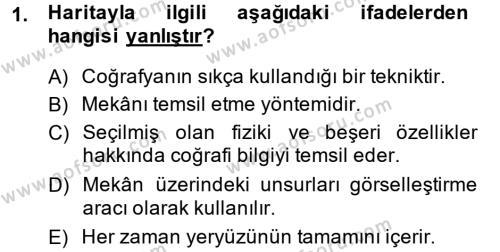 Tarihi Coğrafya Dersi 2014 - 2015 Yılı Tek Ders Sınavı 1. Soru