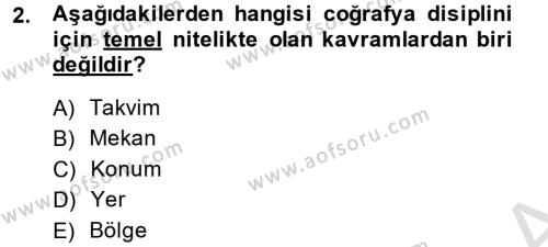 Tarihi Coğrafya Dersi 2014 - 2015 Yılı Tek Ders Sınavı 2. Soru