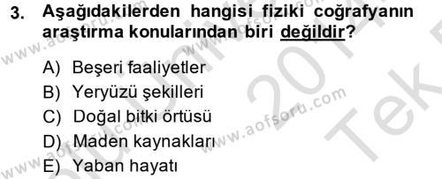 Tarihi Coğrafya Dersi 2014 - 2015 Yılı Tek Ders Sınavı 3. Soru