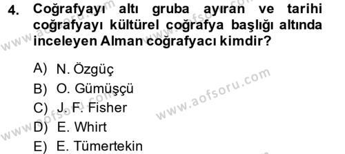 Tarihi Coğrafya Dersi 2014 - 2015 Yılı Tek Ders Sınavı 4. Soru