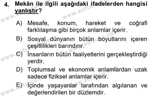 Tarihi Coğrafya Dersi 2015 - 2016 Yılı Ara Sınavı 4. Soru