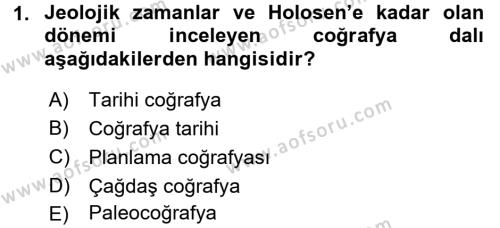 Tarihi Coğrafya Dersi 2015 - 2016 Yılı Tek Ders Sınavı 1. Soru