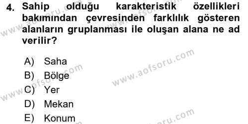 Tarihi Coğrafya Dersi 2015 - 2016 Yılı Tek Ders Sınavı 4. Soru