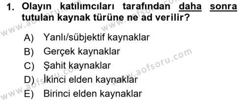 Tarihi Coğrafya Dersi 2016 - 2017 Yılı 3 Ders Sınavı 1. Soru