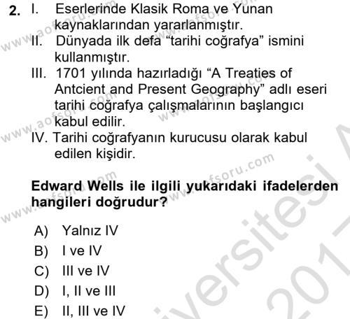 Tarihi Coğrafya Dersi 2016 - 2017 Yılı Ara Sınavı 2. Soru