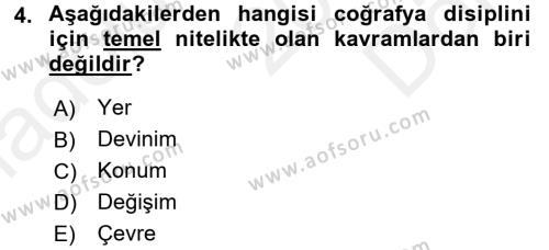 Tarihi Coğrafya Dersi 2016 - 2017 Yılı Dönem Sonu Sınavı 4. Soru