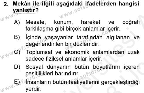 Tarihi Coğrafya Dersi 2017 - 2018 Yılı 3 Ders Sınavı 2. Soru
