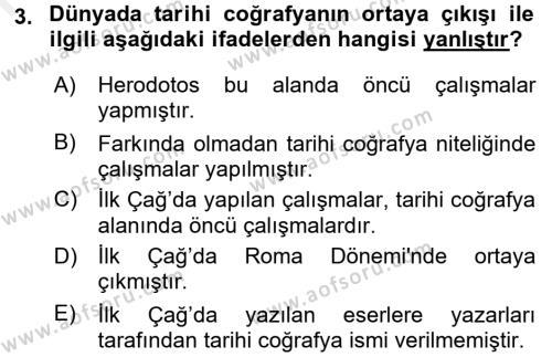 Tarihi Coğrafya Dersi 2017 - 2018 Yılı 3 Ders Sınavı 3. Soru