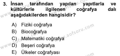 Tarihi Coğrafya Dersi 2017 - 2018 Yılı (Vize) Ara Sınav Soruları 3. Soru