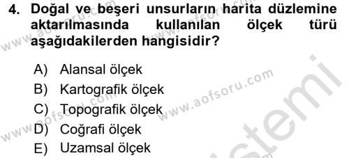 Tarihi Coğrafya Dersi 2017 - 2018 Yılı (Vize) Ara Sınav Soruları 4. Soru