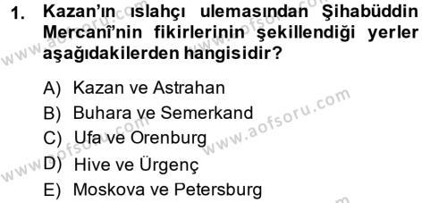 Tarih Bölümü 6. Yarıyıl XIX. Yüzyıl Türk Dünyası Dersi 2015 Yılı Bahar Dönemi Ara Sınavı 1. Soru