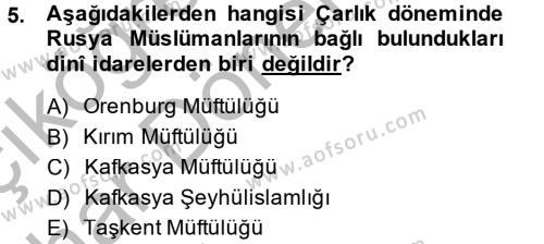 Tarih Bölümü 6. Yarıyıl XIX. Yüzyıl Türk Dünyası Dersi 2015 Yılı Bahar Dönemi Ara Sınavı 5. Soru