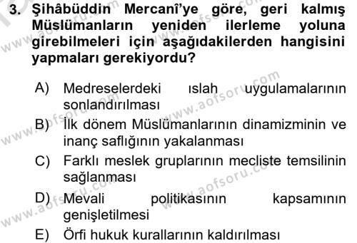 Tarih Bölümü 6. Yarıyıl XIX. Yüzyıl Türk Dünyası Dersi 2016 Yılı Bahar Dönemi Dönem Sonu Sınavı 3. Soru