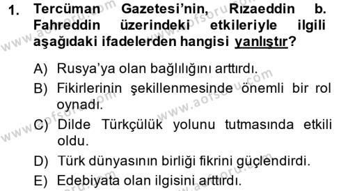XIX. Yüzyıl Türk Dünyası Dersi 2013 - 2014 Yılı Ara Sınavı 1. Soru