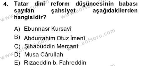 XIX. Yüzyıl Türk Dünyası Dersi 2013 - 2014 Yılı Ara Sınavı 4. Soru