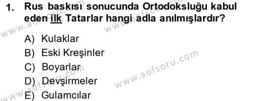 XIX. Yüzyıl Türk Dünyası Dersi 2013 - 2014 Yılı (Final) Dönem Sonu Sınav Soruları 1. Soru