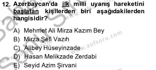XIX. Yüzyıl Türk Dünyası Dersi 2013 - 2014 Yılı (Final) Dönem Sonu Sınavı 12. Soru