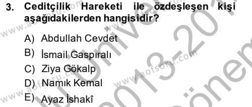 XIX. Yüzyıl Türk Dünyası Dersi 2013 - 2014 Yılı Dönem Sonu Sınavı 3. Soru