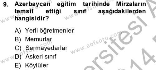 XIX. Yüzyıl Türk Dünyası Dersi Dönem Sonu Sınavı Deneme Sınav Soruları 9. Soru
