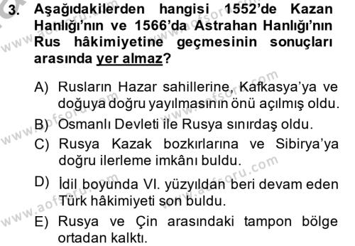 XIX. Yüzyıl Türk Dünyası Dersi 2014 - 2015 Yılı Ara Sınavı 3. Soru
