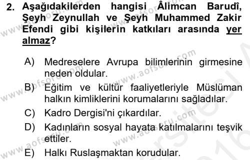 XIX. Yüzyıl Türk Dünyası Dersi 2015 - 2016 Yılı Ara Sınavı 2. Soru