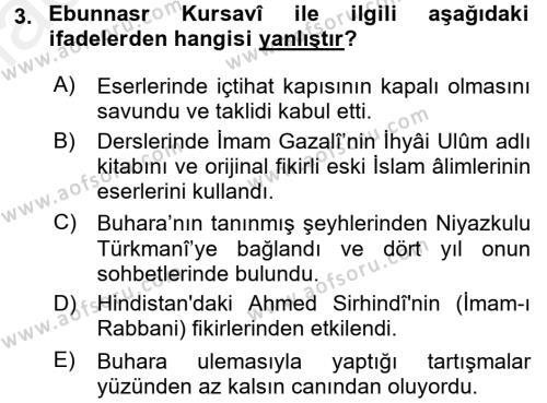 XIX. Yüzyıl Türk Dünyası Dersi 2015 - 2016 Yılı Ara Sınavı 3. Soru