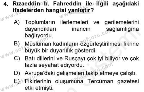XIX. Yüzyıl Türk Dünyası Dersi 2015 - 2016 Yılı Ara Sınavı 4. Soru