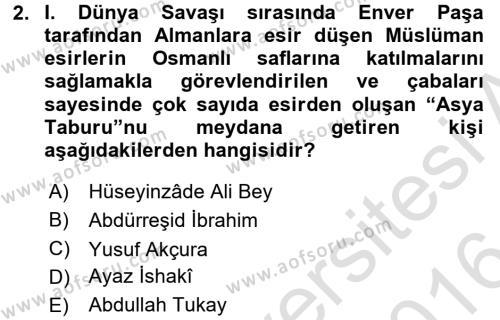 XIX. Yüzyıl Türk Dünyası Dersi 2015 - 2016 Yılı Dönem Sonu Sınavı 2. Soru