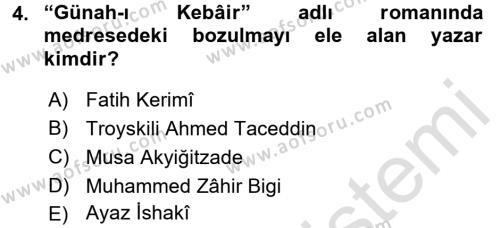 XIX. Yüzyıl Türk Dünyası Dersi 2015 - 2016 Yılı Dönem Sonu Sınavı 4. Soru