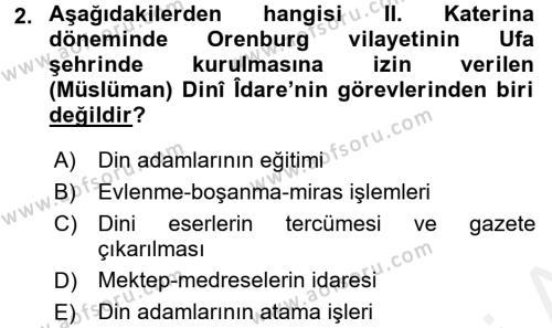 XIX. Yüzyıl Türk Dünyası Dersi 2017 - 2018 Yılı Ara Sınavı 2. Soru