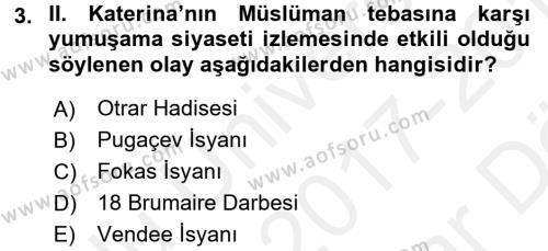 XIX. Yüzyıl Türk Dünyası Dersi 2017 - 2018 Yılı Ara Sınavı 3. Soru