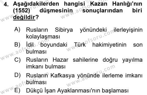 XIX. Yüzyıl Türk Dünyası Dersi 2017 - 2018 Yılı Ara Sınavı 4. Soru