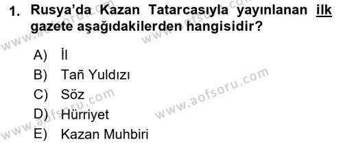 XIX. Yüzyıl Türk Dünyası Dersi 2018 - 2019 Yılı 3 Ders Sınav Soruları 1. Soru