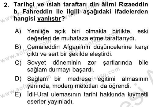 XIX. Yüzyıl Türk Dünyası Dersi 2018 - 2019 Yılı 3 Ders Sınav Soruları 2. Soru